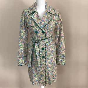 Anthropologie Odille Floral Trench Coat